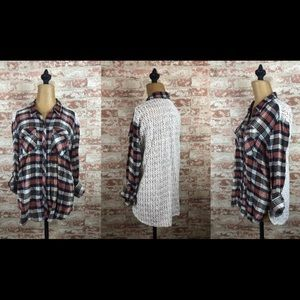 Lucky Brand Plaid Lace Back Shirt Top S